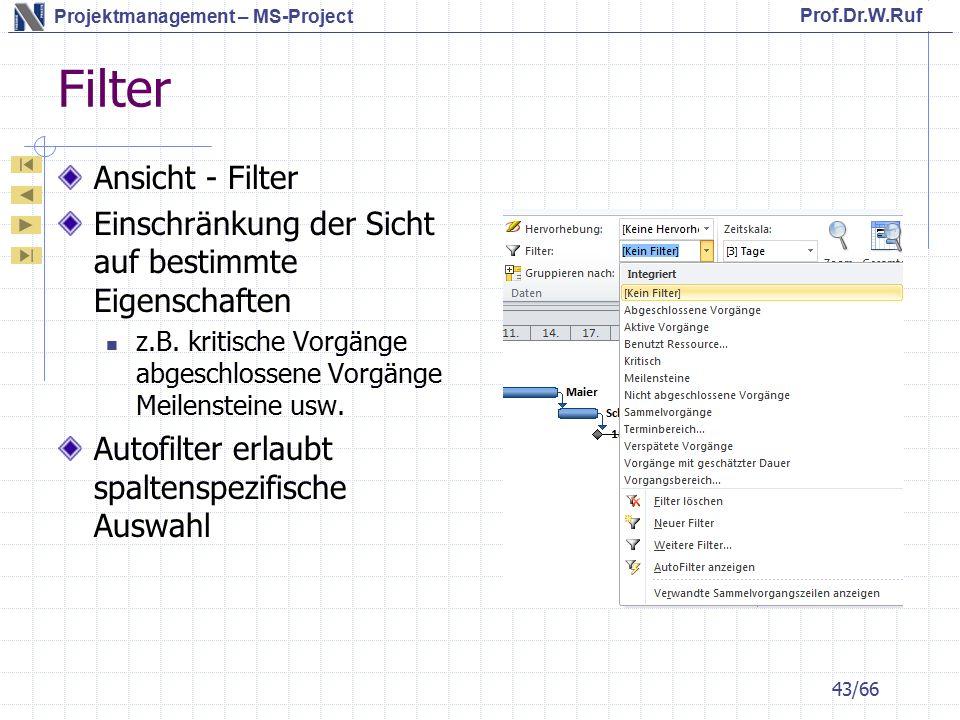 Filter Ansicht - Filter