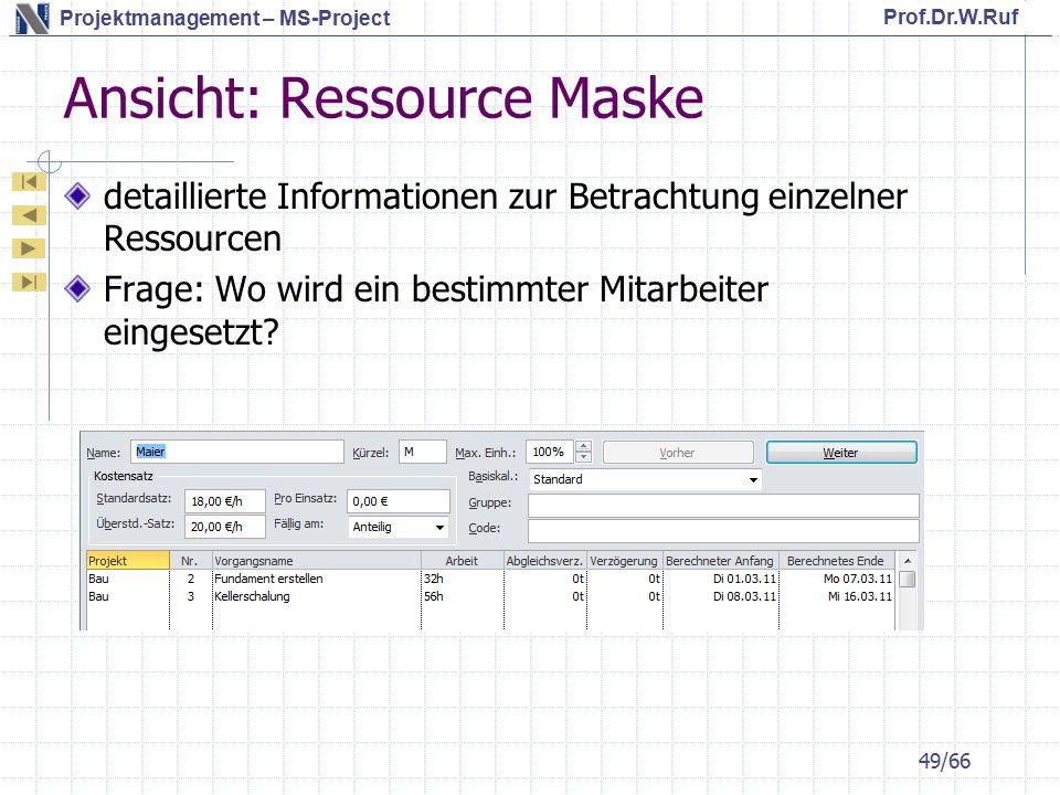 Ansicht: Ressource Maske