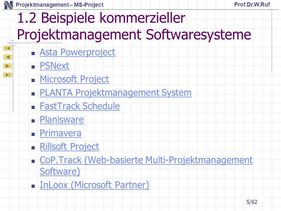 1.2 Beispiele kommerzieller Projektmanagement Softwaresysteme