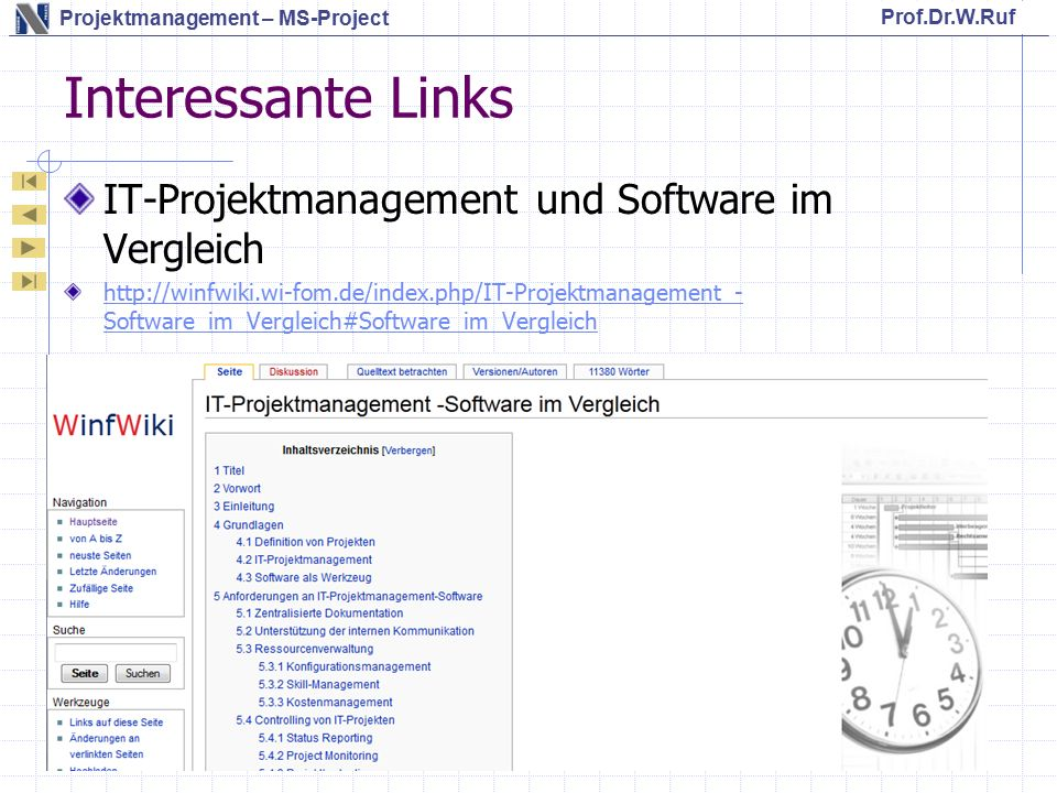 Interessante Links IT-Projektmanagement und Software im Vergleich