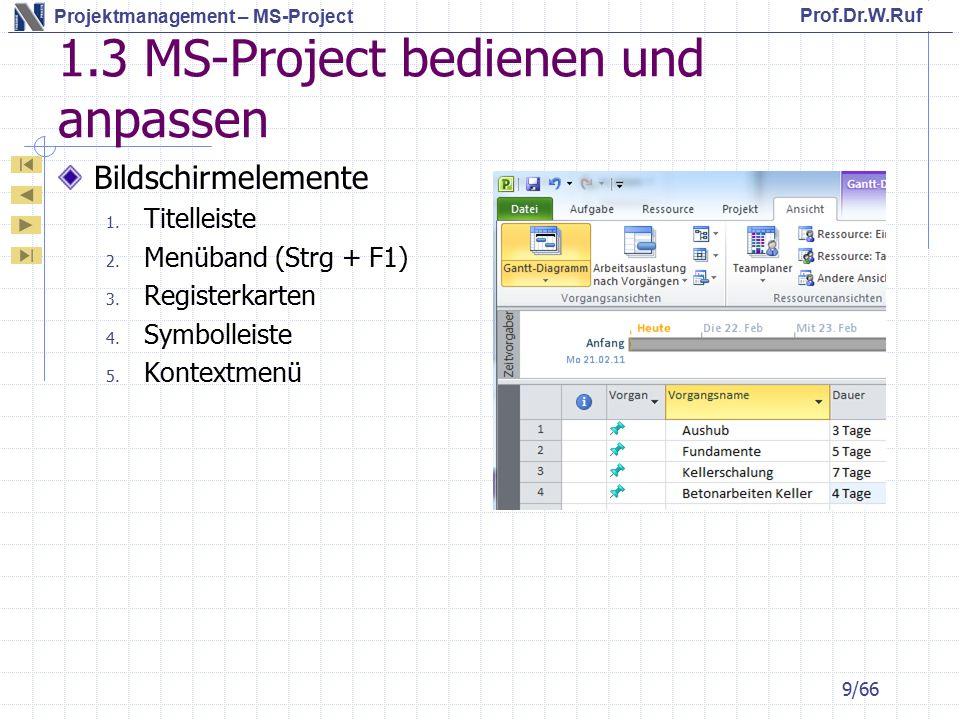1.3 MS-Project bedienen und anpassen