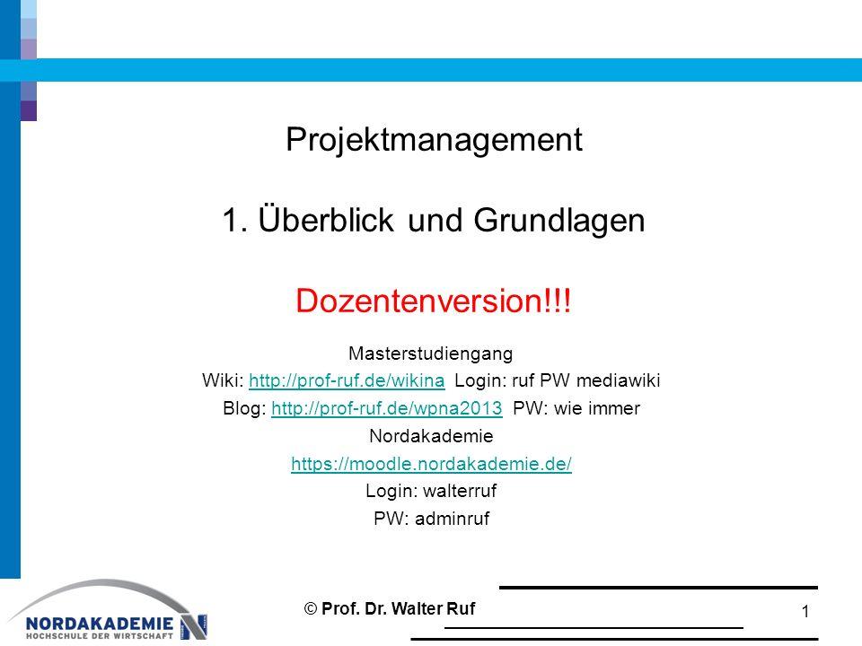 Projektmanagement 1. Überblick und Grundlagen Dozentenversion!!!
