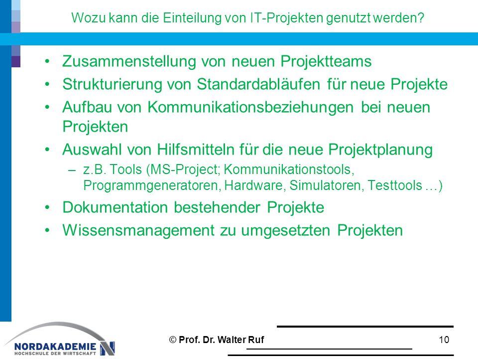 Wozu kann die Einteilung von IT-Projekten genutzt werden