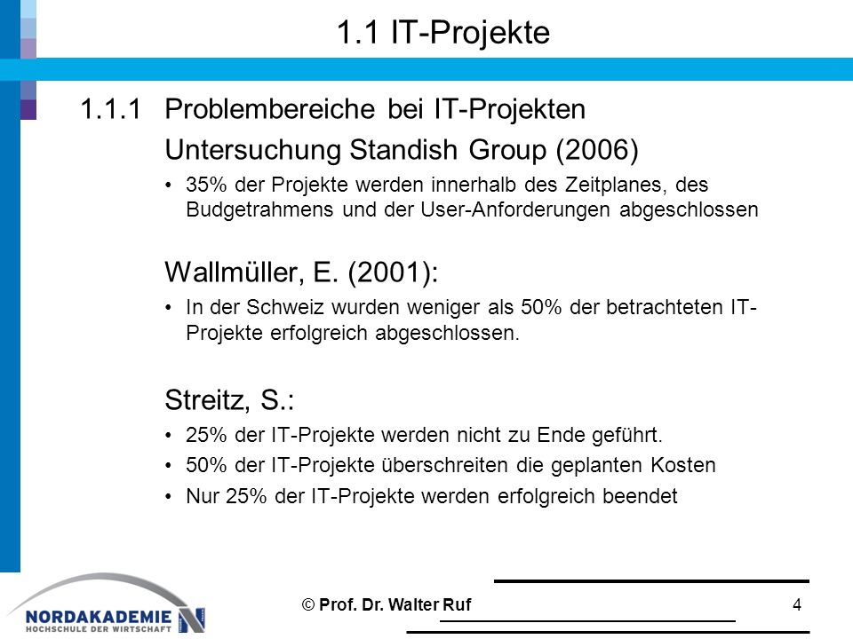 1.1 IT-Projekte 1.1.1 Problembereiche bei IT-Projekten