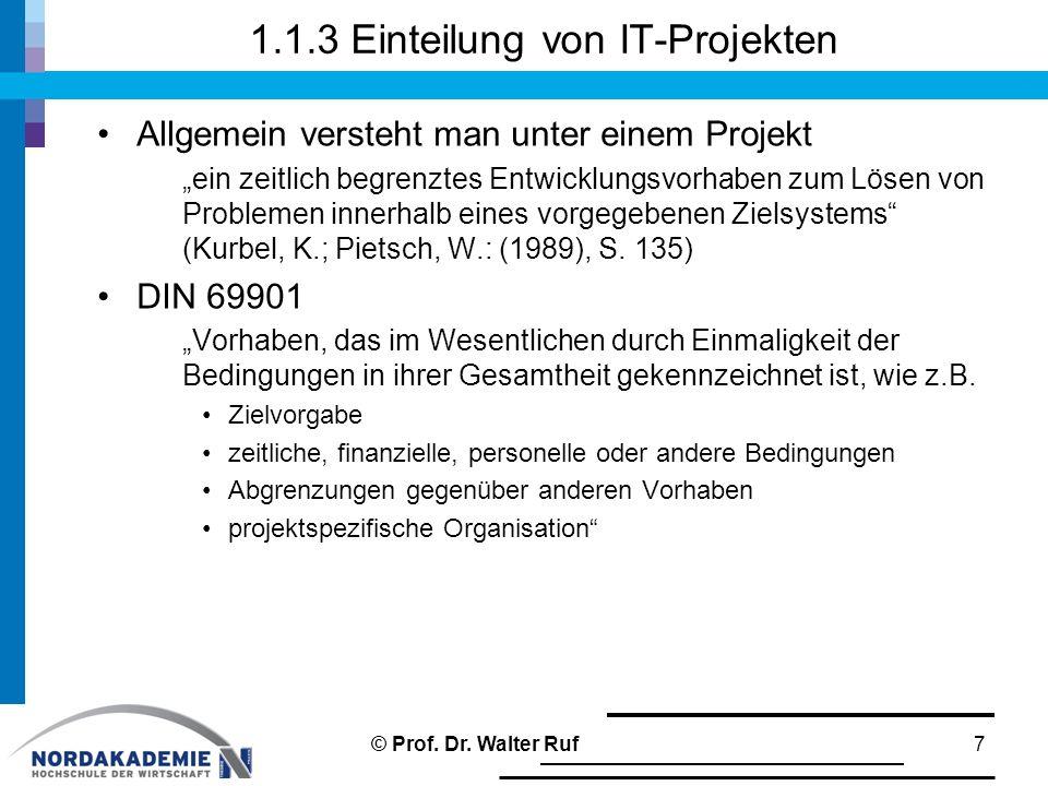1.1.3 Einteilung von IT-Projekten