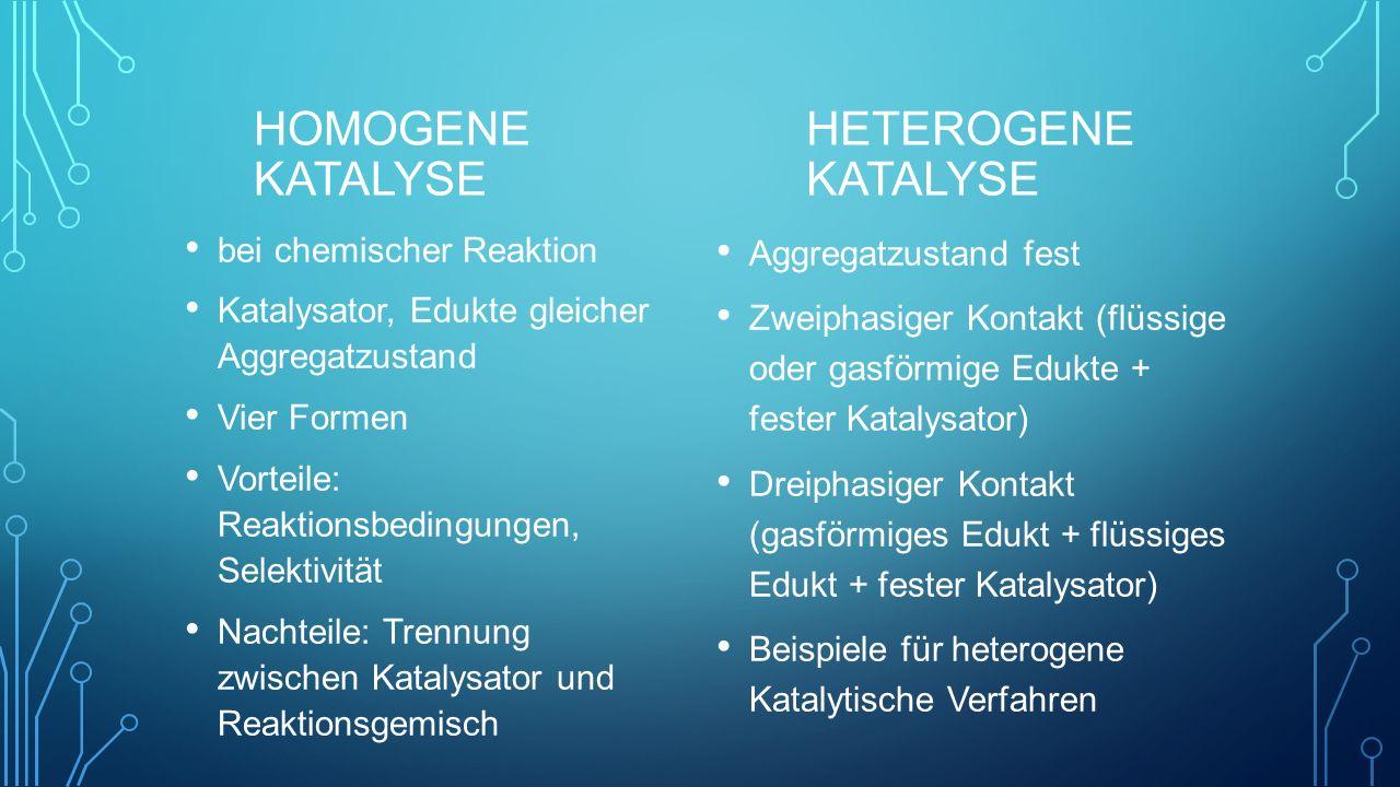 Homogene Katalyse Heterogene Katalyse bei chemischer Reaktion