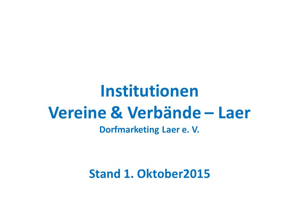 Institutionen Vereine & Verbände – Laer Dorfmarketing Laer e. V.