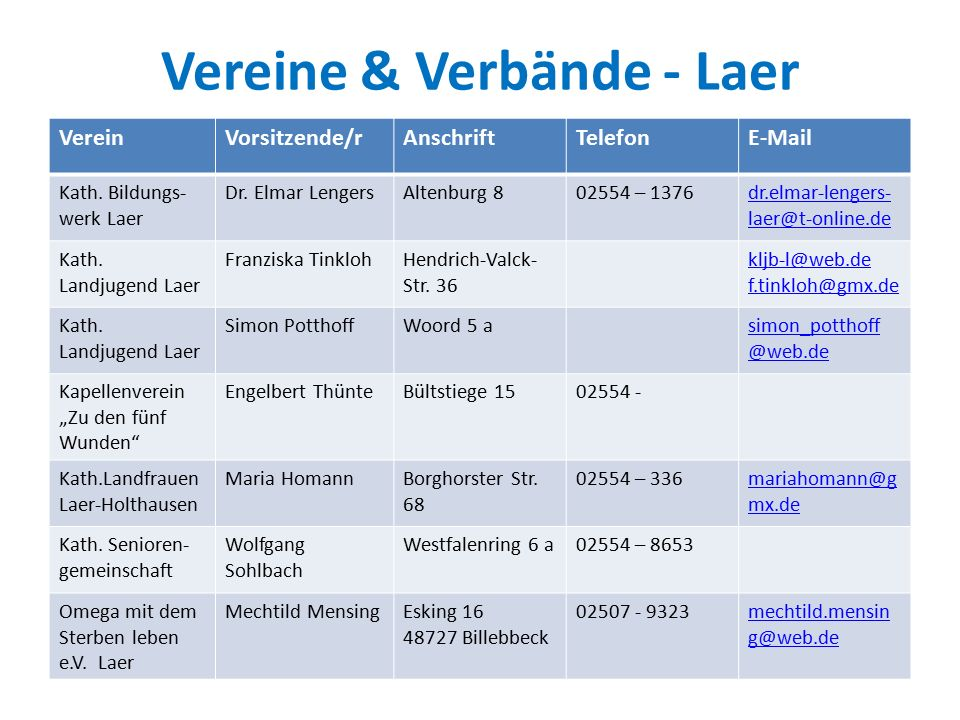 Vereine & Verbände - Laer