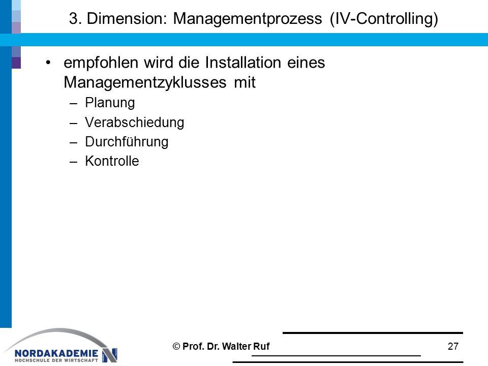 3. Dimension: Managementprozess (IV-Controlling)