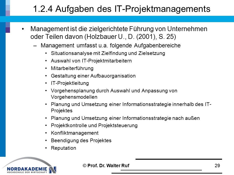 1.2.4 Aufgaben des IT-Projektmanagements