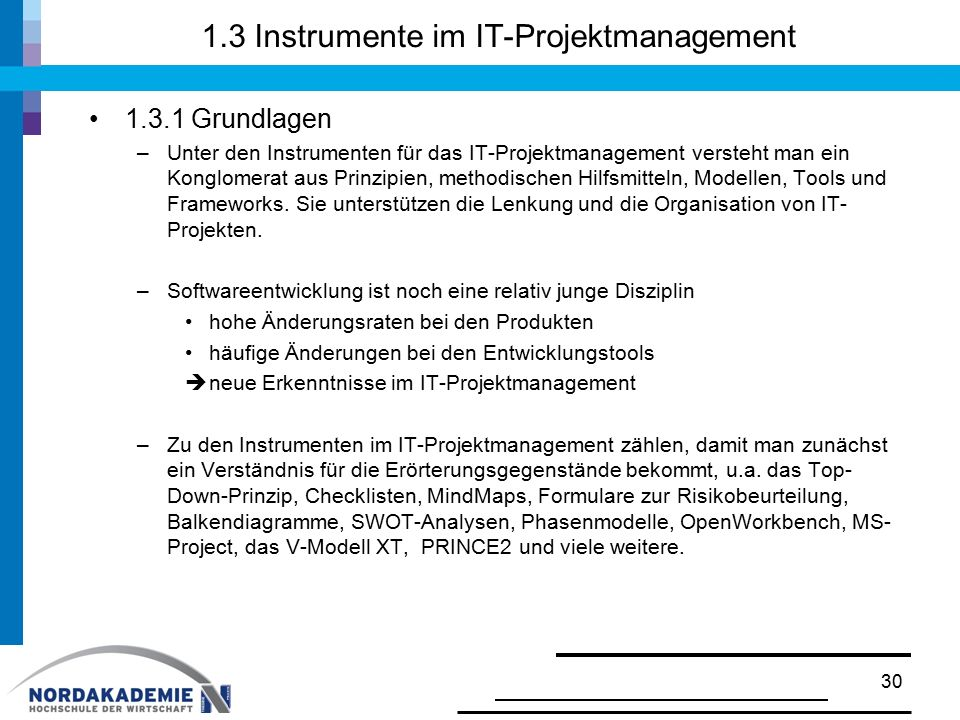 1.3 Instrumente im IT-Projektmanagement