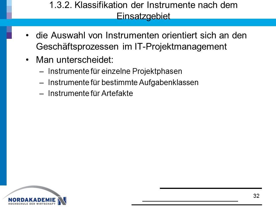 1.3.2. Klassifikation der Instrumente nach dem Einsatzgebiet