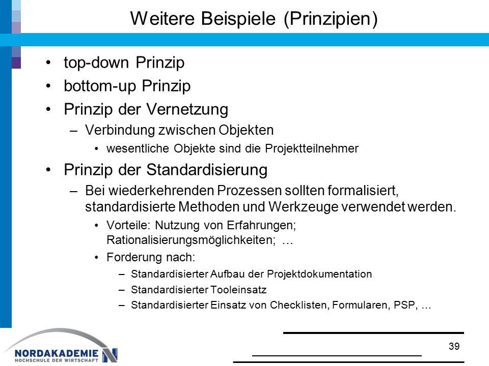 Weitere Beispiele (Prinzipien)