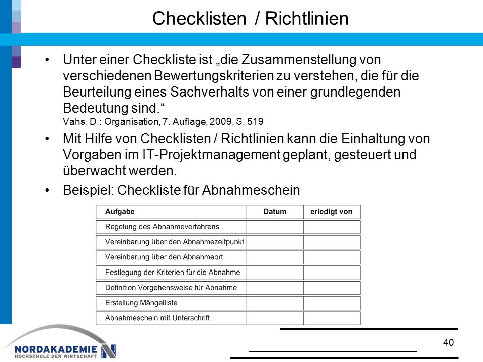 Checklisten / Richtlinien