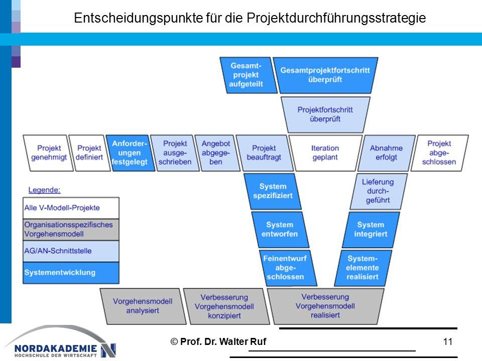 Entscheidungspunkte für die Projektdurchführungsstrategie