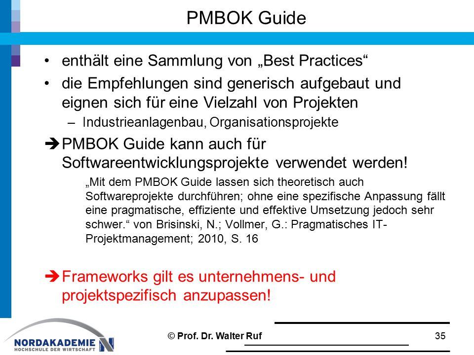 """PMBOK Guide enthält eine Sammlung von """"Best Practices"""