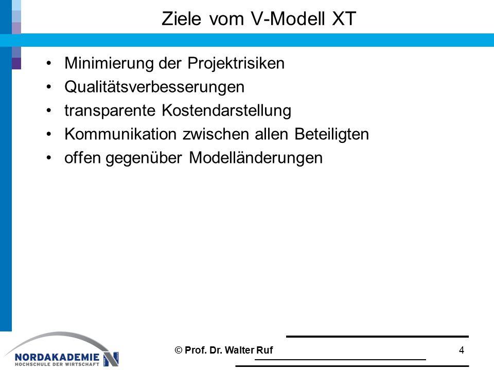 Ziele vom V-Modell XT Minimierung der Projektrisiken