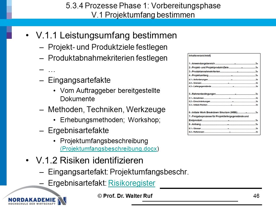 5.3.4 Prozesse Phase 1: Vorbereitungsphase V.1 Projektumfang bestimmen