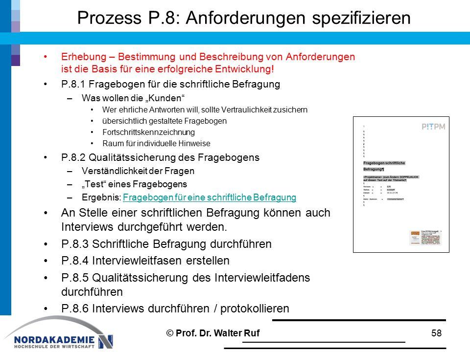 Prozess P.8: Anforderungen spezifizieren