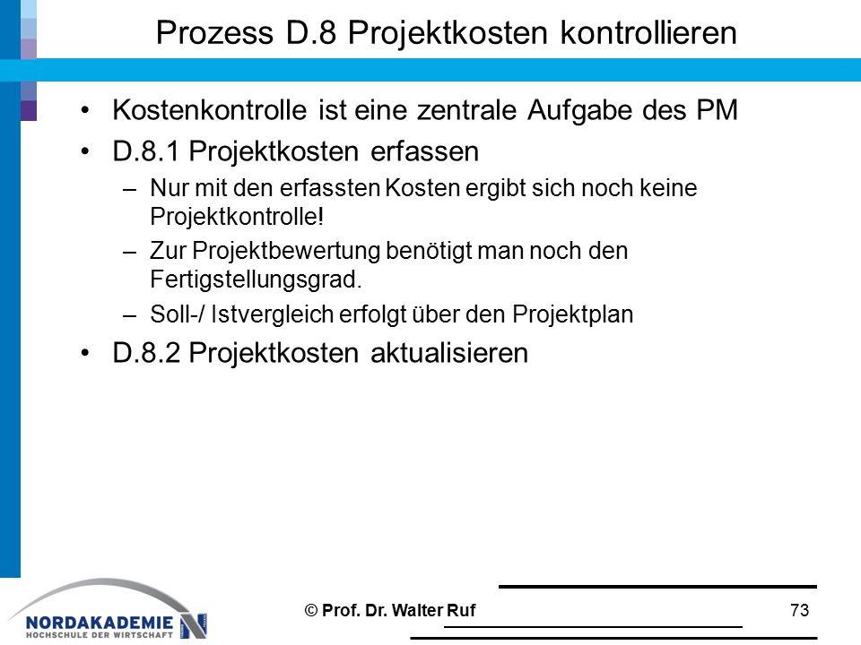 Prozess D.8 Projektkosten kontrollieren