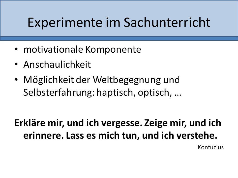 Experimente im Sachunterricht