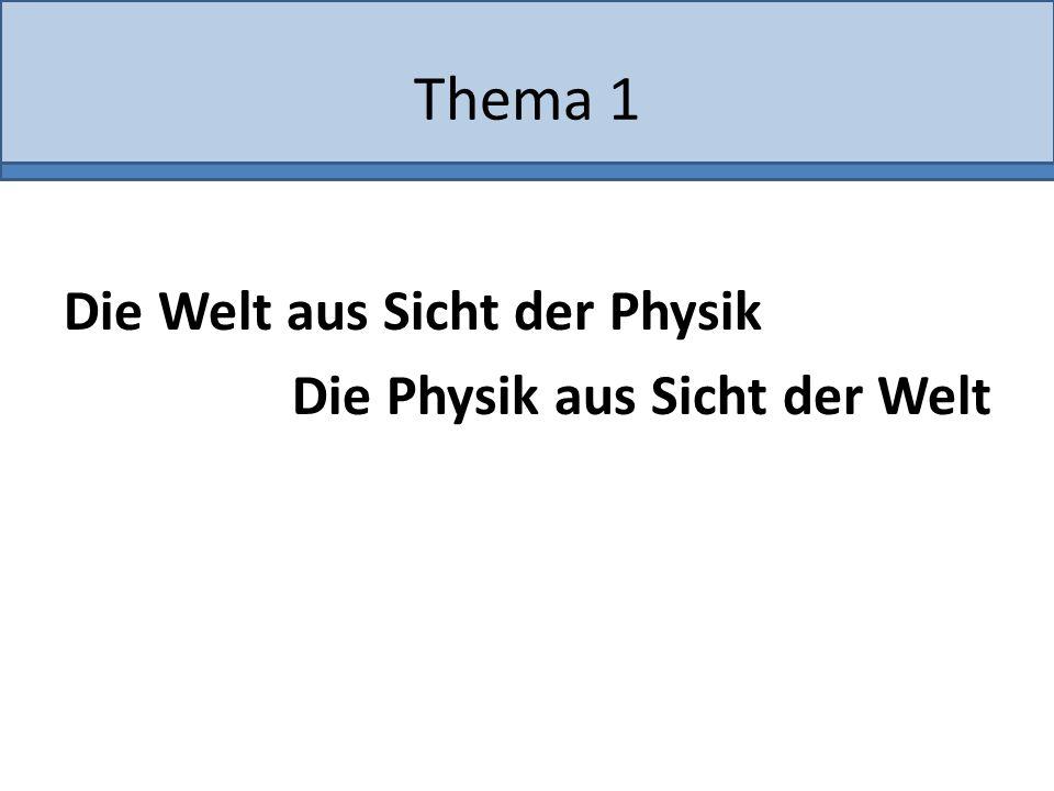 Thema 1 Die Welt aus Sicht der Physik Die Physik aus Sicht der Welt