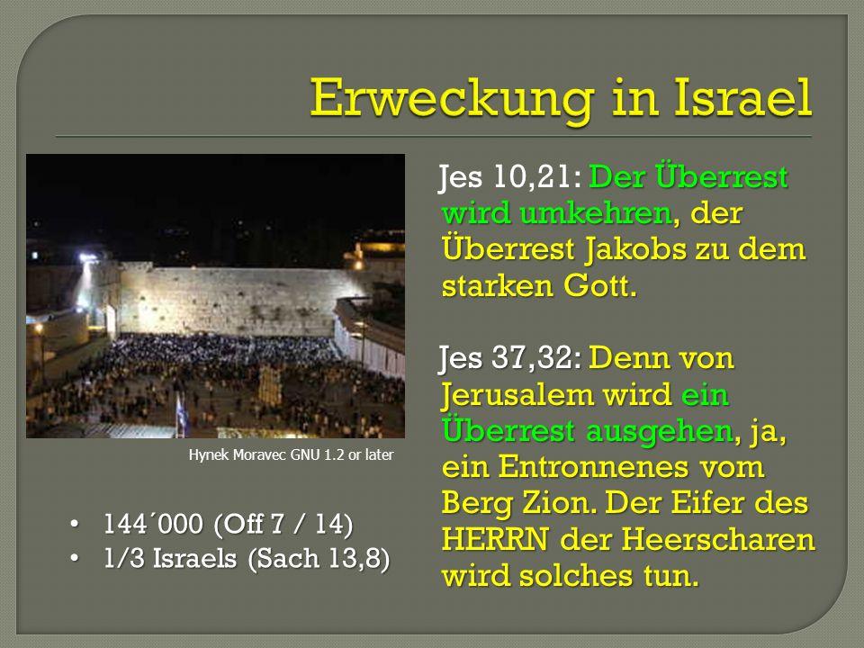 Erweckung in Israel Jes 10,21: Der Überrest wird umkehren, der Überrest Jakobs zu dem starken Gott.