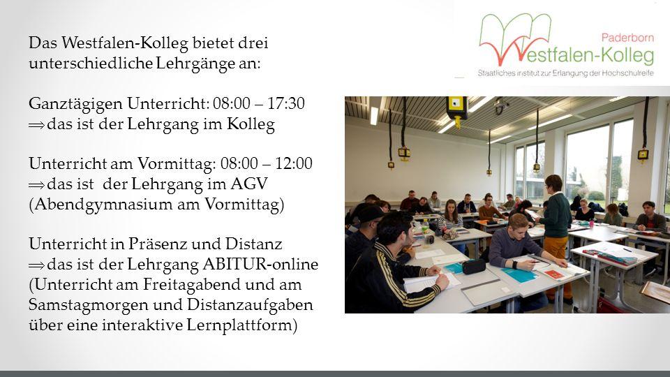 Das Westfalen-Kolleg bietet drei unterschiedliche Lehrgänge an:
