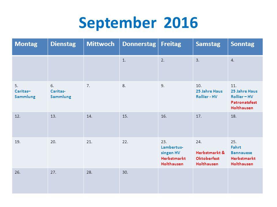 September 2016 Montag Dienstag Mittwoch Donnerstag Freitag Samstag