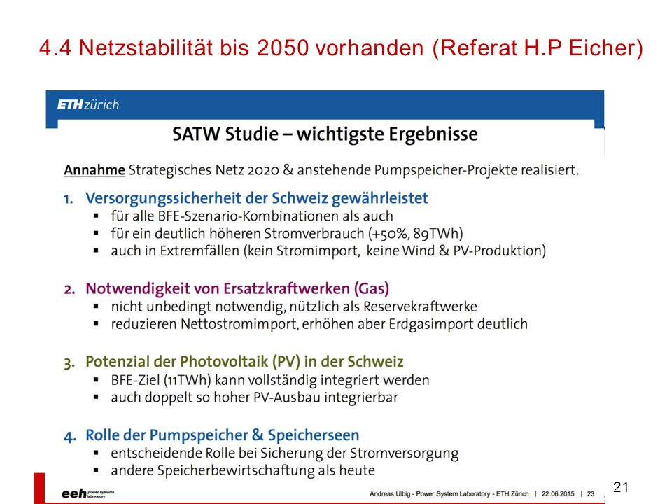 4.4 Netzstabilität bis 2050 vorhanden (Referat H.P Eicher)