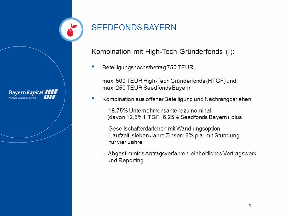 SEEDFONDS BAYERN Kombination mit High-Tech Gründerfonds (I):