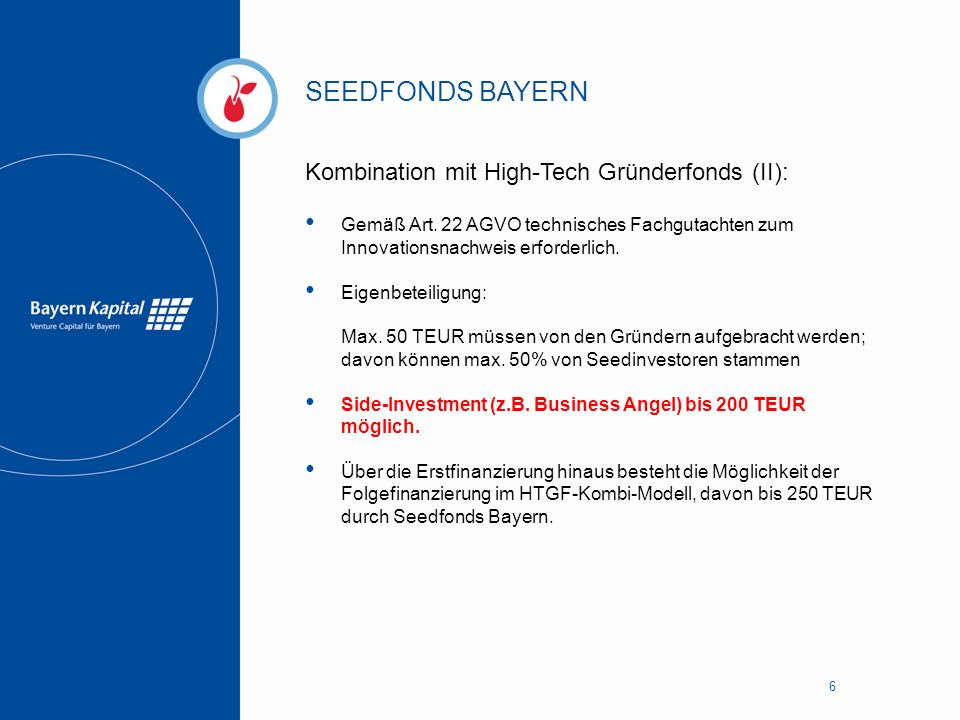 SEEDFONDS BAYERN Kombination mit High-Tech Gründerfonds (II):