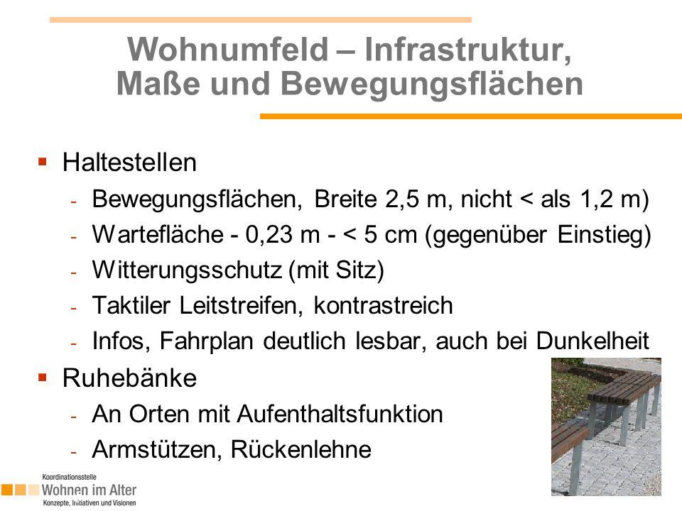 Wohnumfeld – Infrastruktur, Maße und Bewegungsflächen