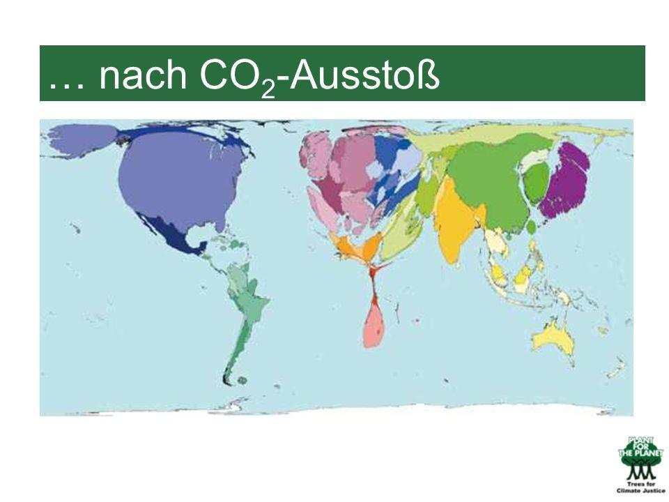 … nach CO2-Ausstoß Hier sind die Länder nach dem CO2-Ausstoß dargestellt.