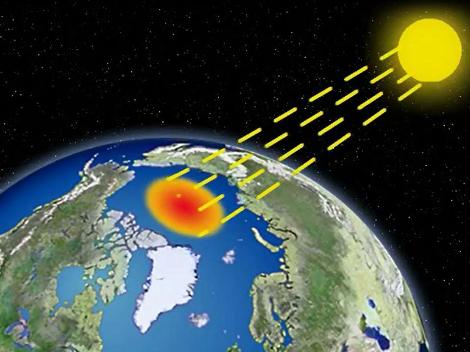 """Wenn nun aber diese riesigen Spiegelflächen schmelzen, verschwindet der """"Kühlschrank der Erde . Dunkle Flächen haben nämlich weniger Rückstrahlvermögen und nehmen mehr Sonnenenergie auf, als hellere Oberflächen, wie das Eis. Wenn das Eis geschmolzen ist und Sonne auf das Wasser scheint, nimmt das Wasser 90% und mehr der Wärmestrahlen auf. Diese Wärme bleibt dann im """"System Erde ."""