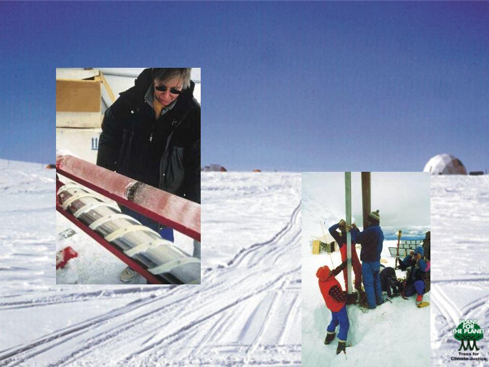 Und so sehen die Eiskernproben aus, welche die Wissenschaftler aus dem Eis holen – wie bei einem Korken, den man aus einer Flasche zieht.
