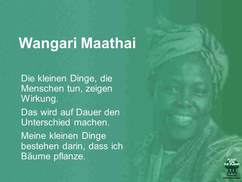 Wangari Maathai Die kleinen Dinge, die Menschen tun, zeigen Wirkung.