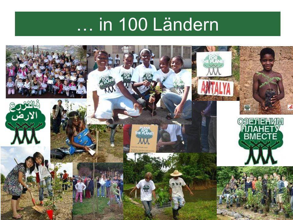 … in 100 LändernHier seht ihr Logos in verschiedenen Sprachen und einige Bilder von ihren Pflanzaktionen.