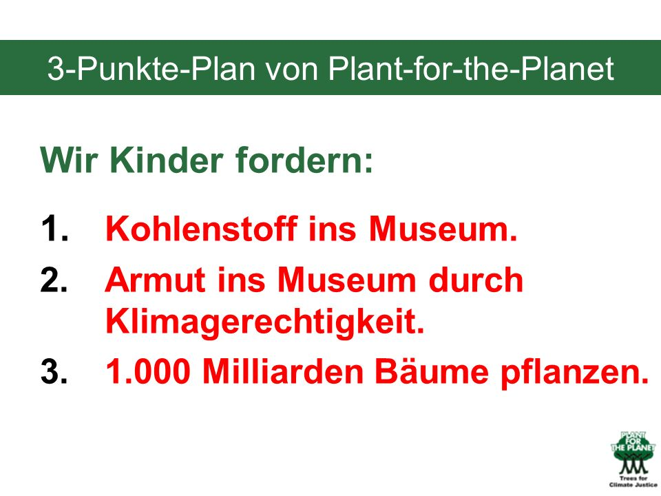 3-Punkte-Plan von Plant-for-the-Planet