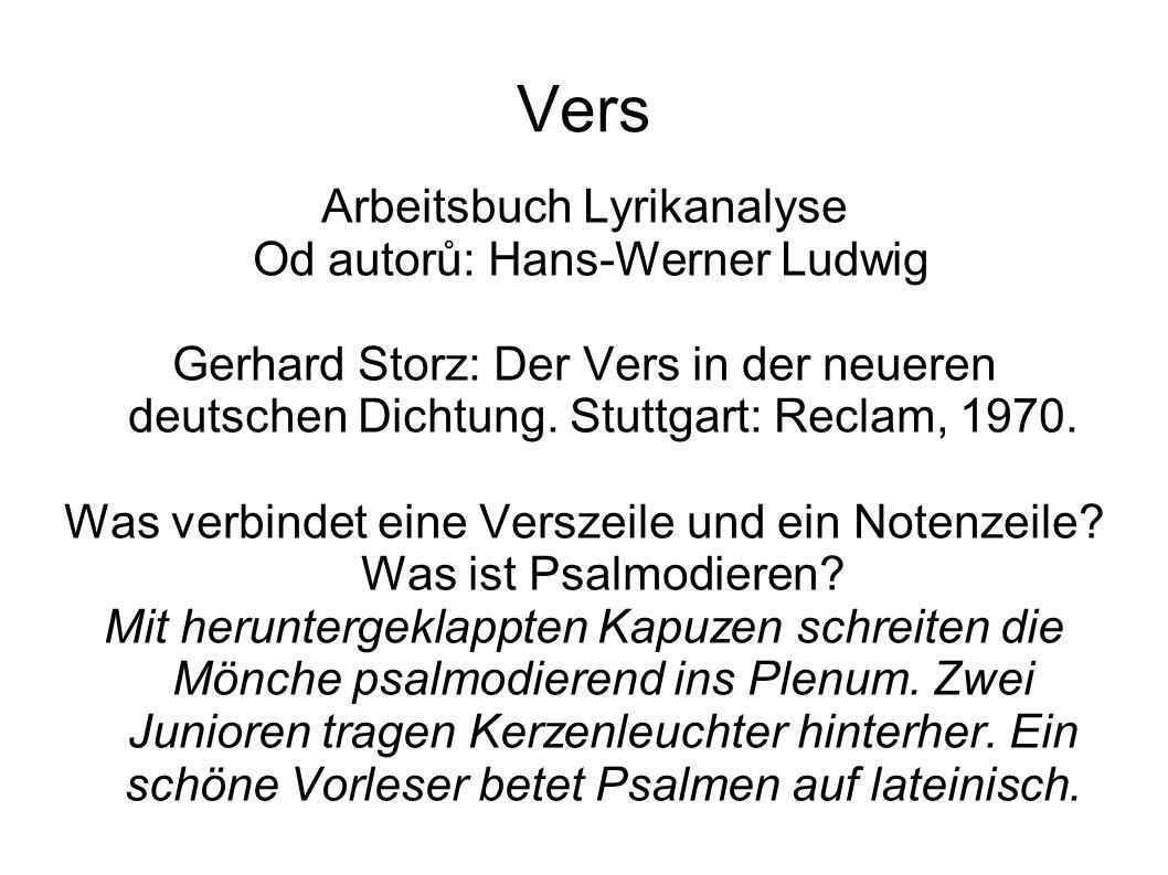 Vers Arbeitsbuch Lyrikanalyse Od autorů: Hans-Werner Ludwig