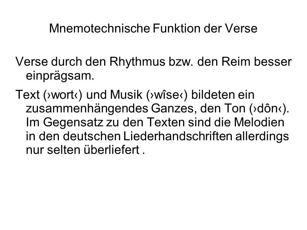 Mnemotechnische Funktion der Verse