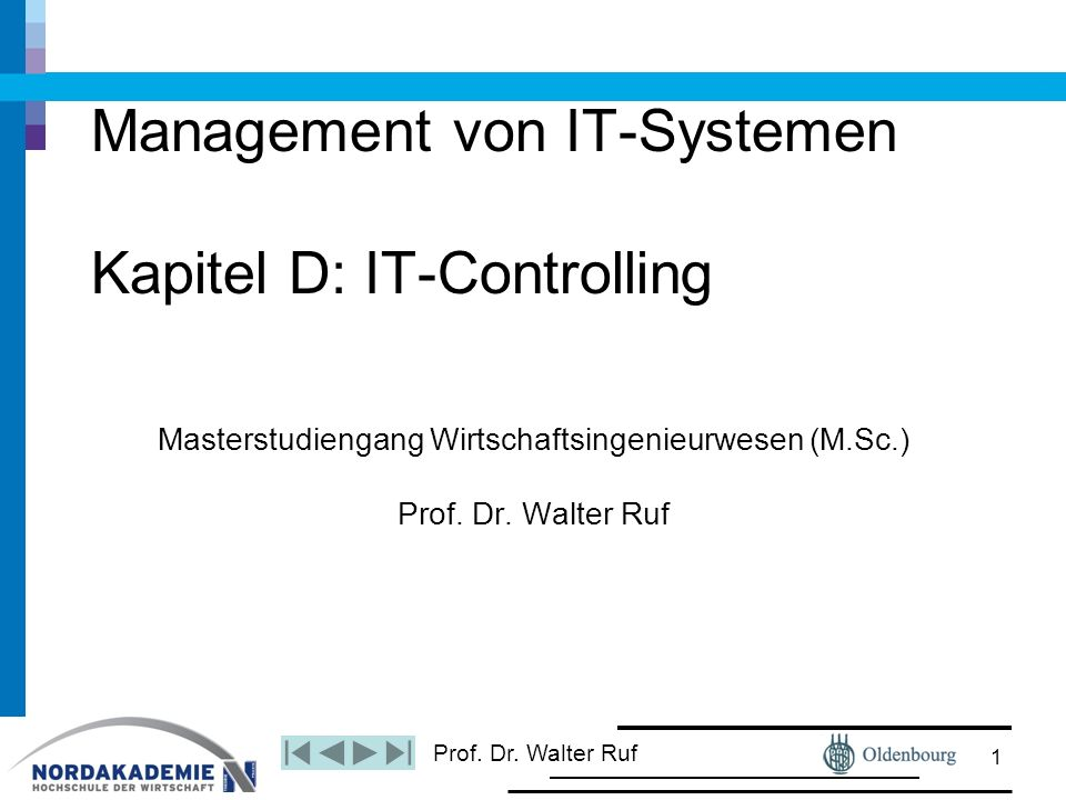 Management von IT-Systemen Kapitel D: IT-Controlling