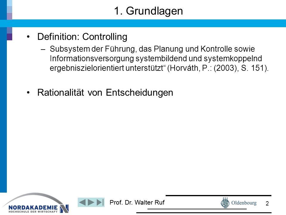 1. Grundlagen Definition: Controlling Rationalität von Entscheidungen