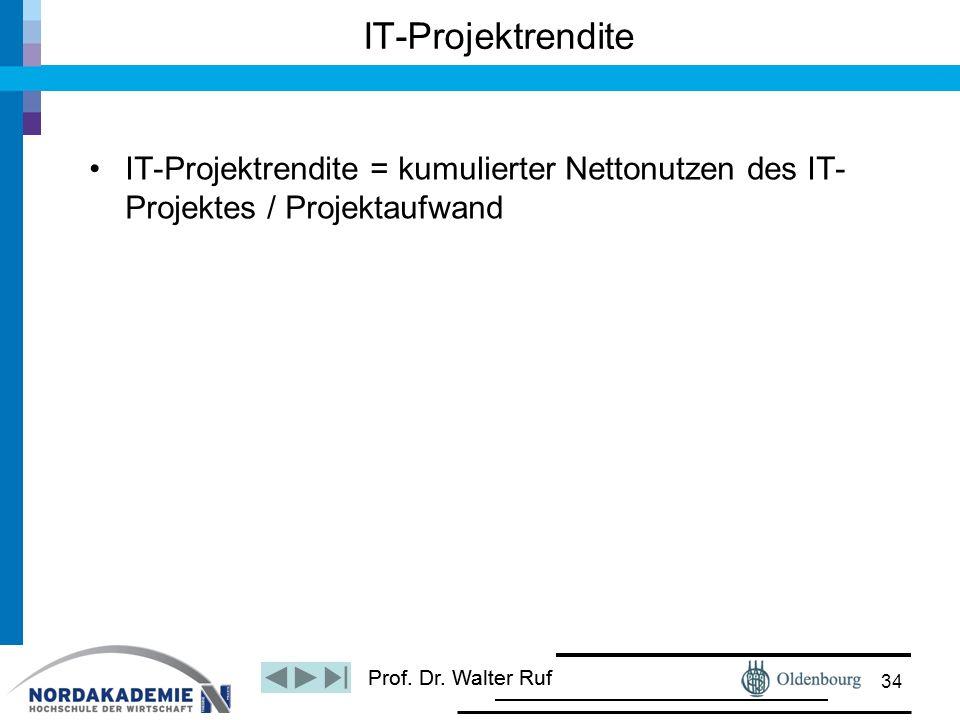 IT-Projektrendite IT-Projektrendite = kumulierter Nettonutzen des IT-Projektes / Projektaufwand