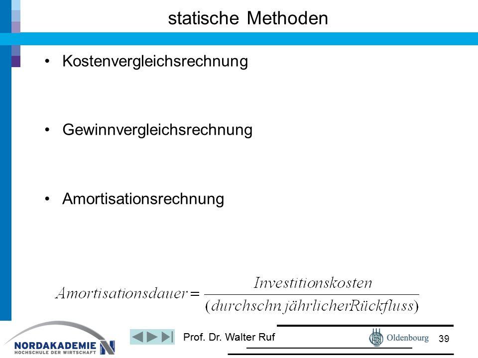 statische Methoden Kostenvergleichsrechnung Gewinnvergleichsrechnung