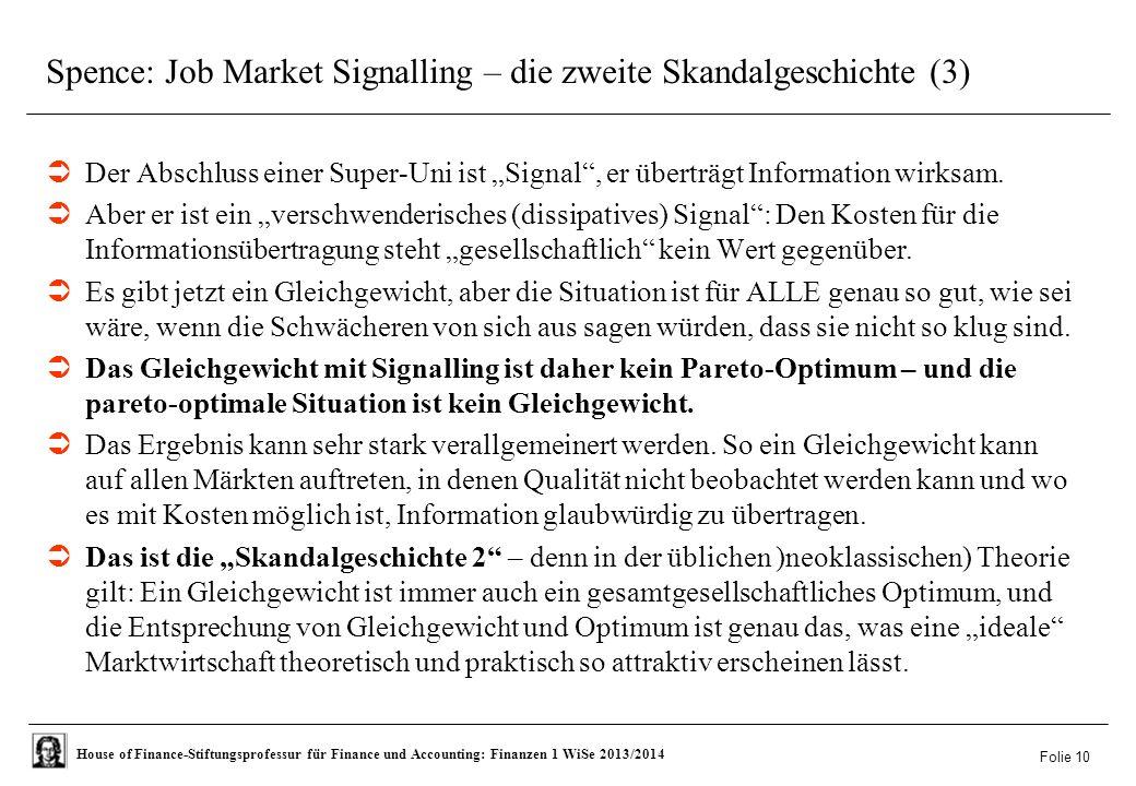 Spence: Job Market Signalling – die zweite Skandalgeschichte (3)