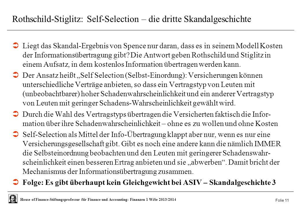 Rothschild-Stiglitz: Self-Selection – die dritte Skandalgeschichte