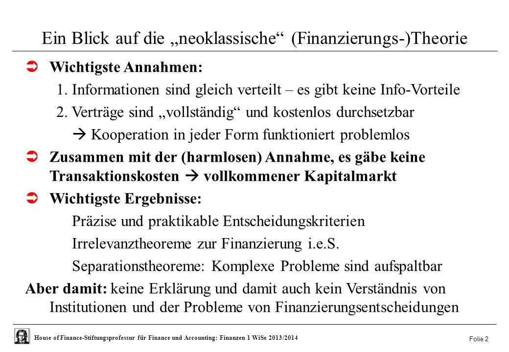 """Ein Blick auf die """"neoklassische (Finanzierungs-)Theorie"""