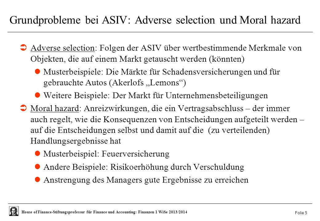 Grundprobleme bei ASIV: Adverse selection und Moral hazard