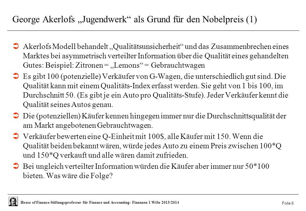 """George Akerlofs """"Jugendwerk als Grund für den Nobelpreis (1)"""